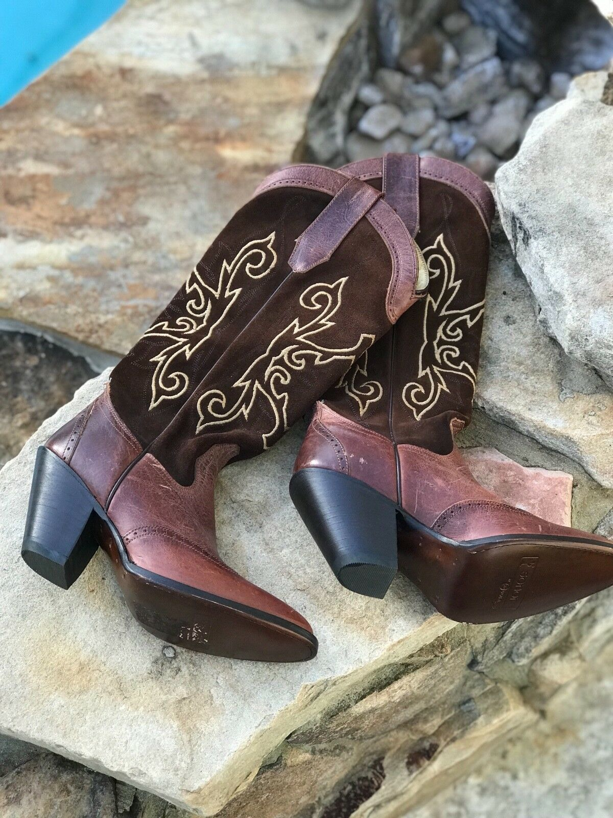 Sonora double H western boots Braun Leder new 6.5