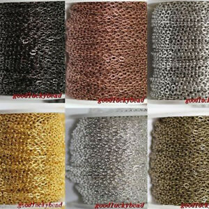 5m/100m Cable Open Link Iron Metal Chain Jewelry Findings 6 Colors 0.7x3x2mm
