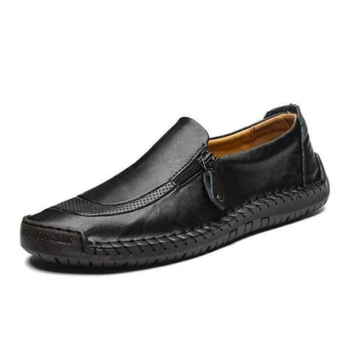 Mens Gents Casual Oxford Leather Zipper Slip On Loafers Breathable Casual Shoes