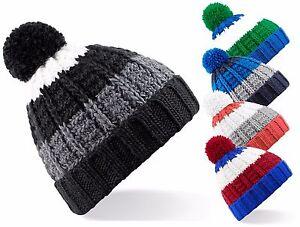 Pour-Hommes-Femmes-Chaude-Tricot-Epais-Doux-Raye-Pompom-Bonnet-De-Ski-Calotte