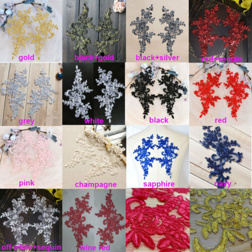 1 pair Flower Embroidery Lace Applique Patch Corded Lace Motifs Sewing Craft