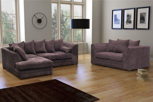 New Skandar Fabric Jumbo Cord Chocolate Corner and 3+2 seater+Swivel Chair sofa