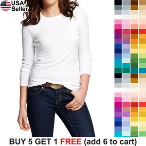 Basic-Crew-Neck-T-Shirt-Solid-Plain-Top-Layer-Stretch-Fitted-Blank-Women-3020