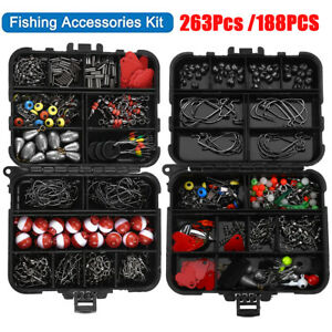 263/188Pcs Fishing Accessories Kit Set with Tackle Box Pliers Jig Hooks Bullet