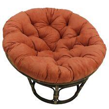 Bali 42 Inch Rattan Papasan Chair With Microsuede Fabric Cushion    Walnut/Spice