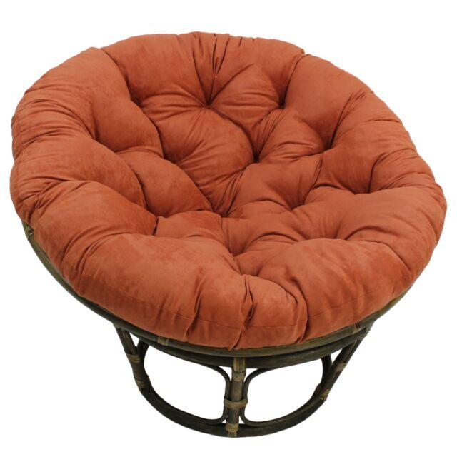 Astounding Bali 42 Inch Rattan Papasan Chair With Microsuede Fabric Cushion Walnut Spice Cjindustries Chair Design For Home Cjindustriesco