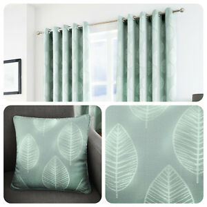 Duck-Egg-Blue-Eyelet-Curtains-Leaf-Print-Ready-Made-Lined-Pair-Drapes-amp-Cushions