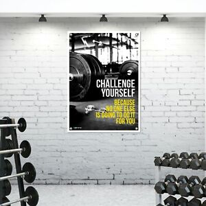 Pro Challenge Yourself Tough Banner Material Poster Gym Barbell Weights Bm01 Ebay