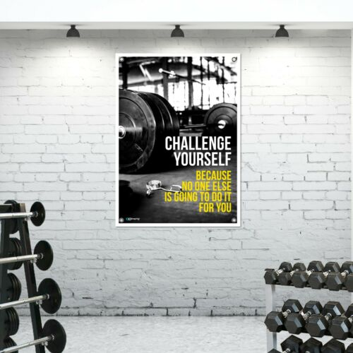 Pro Challenge Yourself Tough Banner Material Poster Gym Barbell Weights BM01