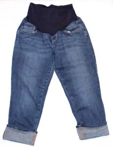 Old-Navy-maternity-jeans-Size-6-capris-crop-Denim-Blue-Jean-Rolled-Cuff