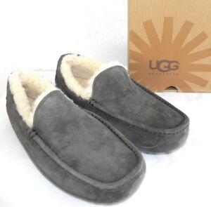c954cece360 Details about NEW MENS SIZE 18 UGG ASCOT 5775 CHARCOAL GRAY SHEEPSKIN  SLIPPERS MOCCASINS SHOES
