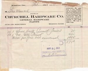 U.S. Churchill Hardware Co. Roseburg O. 1913 Cement Paint Paid Invoice Ref 41796