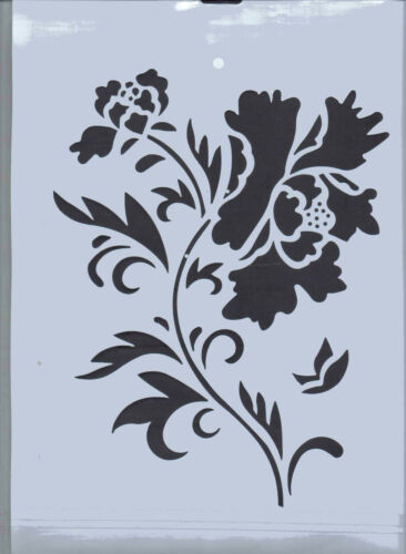 Plastic//PVC//Coated//Paper//Stencil//Oriental//Flower//Leaves//Design//NEW