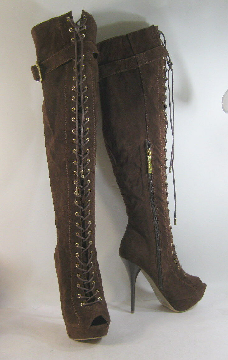 NEW Brown 5.5 High Heel Open Toe Front Lace Up Over Knee Sexy Boot Size 7