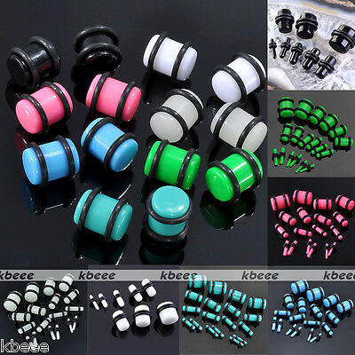 2x Acrylic Plugs Double Flare O-Rings Ear Stud Stretching Piercing Kit Gauge New