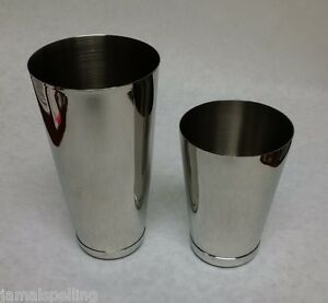 2 Piece BAR WEIGHTED COCKTAIL SHAKER Stainless Steel Flair Boston Mixing Tin Set