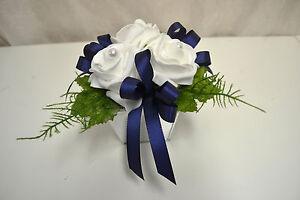 Tischdeko Weiss Blau Kunstblumen Blumen Gesteck Hochzeit Taufe