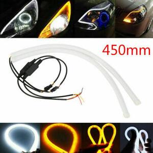 2x-45cm-flexibler-LED-Streifen-Tube-DRL-Tagfahrlicht-Blinker-Lampe-Lichtleiste