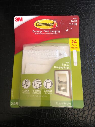 3M Command Large Picture Hanging Strips 24 Pairs//Sets 48 Strips holds 16 lb New