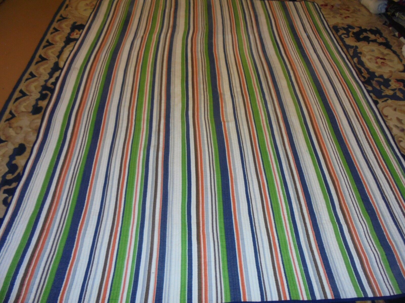 Nice Multi-color Stripe Whole Cloth Quilt