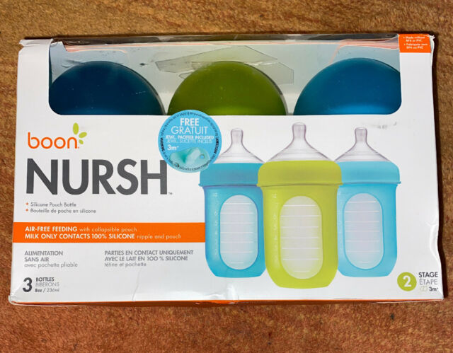 4 Ounce Boon NURSH Reusable Silicone Pouch Bottles Pack of 3