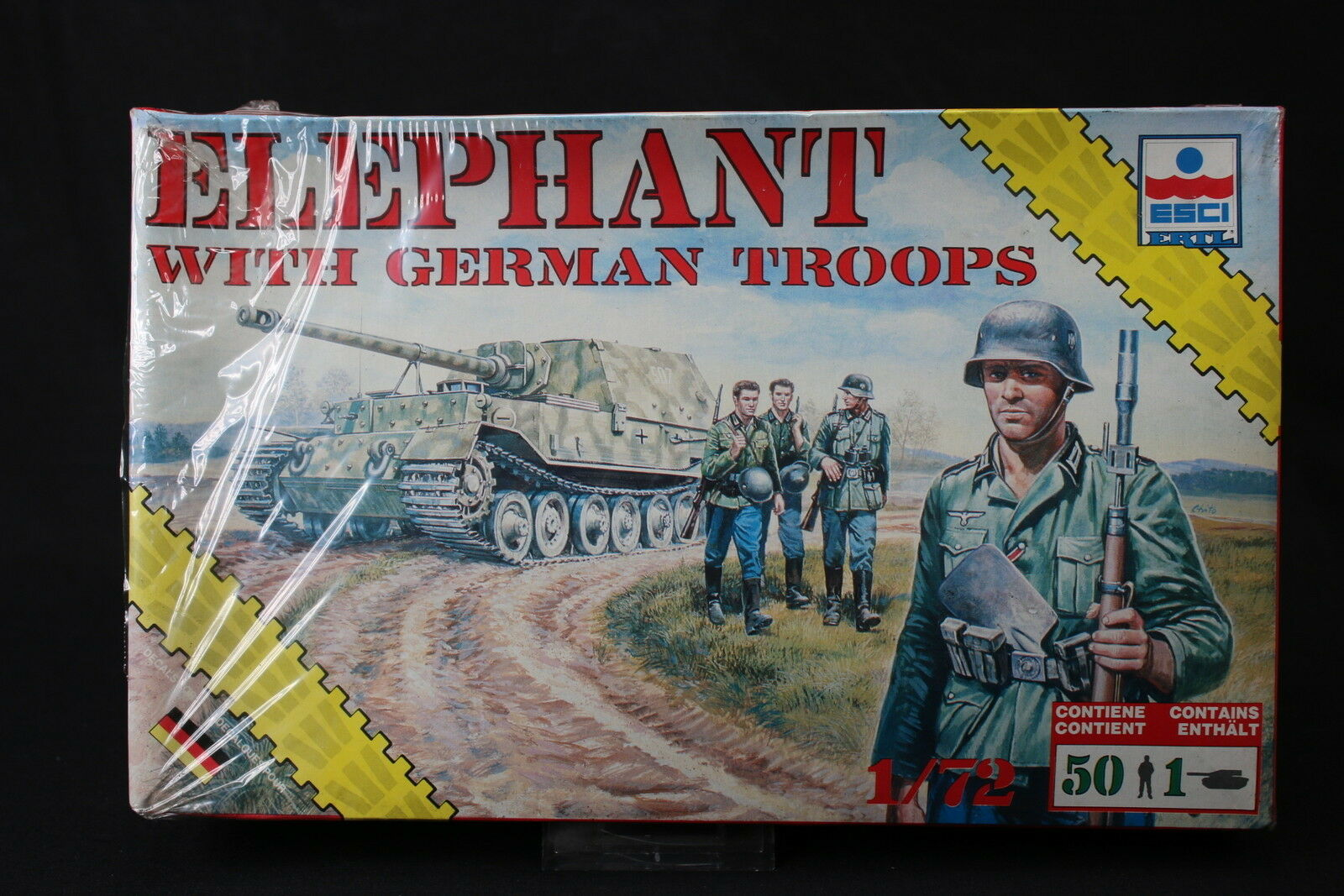 YD028 ESCI 1 72 maquette tank char 8621 Elephant with German Troops rare version