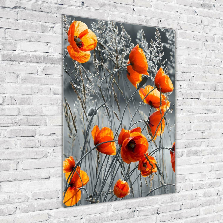 Wandbild Kunst-Druck auf Hart-Glas hochkant 70x100 Feld MohnBlaumen