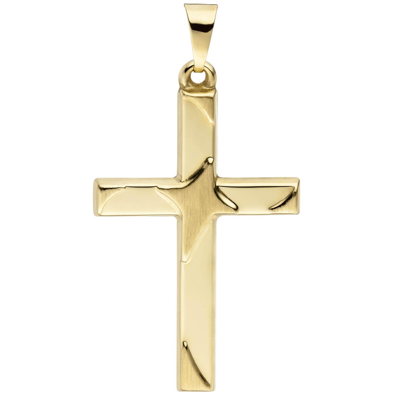 Colgante Cruz gold Cruz, Mate Parcial, gold 375 gold yellow, Unisex