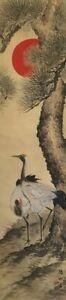 Japanese-Hanging-Scroll-Kakejiku-Hand-Paint-Silk-Crane-Pine-Tree-Antique-Z414