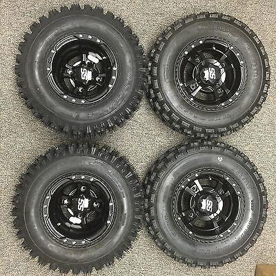 ITP SS112 Rims Wheels Yamaha YFZ450 Set Front Rear Machined Black 2004-2017