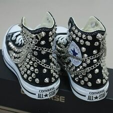 bb59c4684b07 Genuine CONVERSE with studs   chains All-star Chuck Taylor Sneakers Sheos