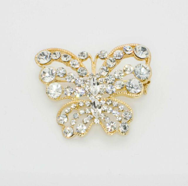 Golden Butterfly Pin Clear Crystal Brooch Coat Pendant
