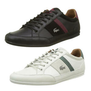b3b176564 Lacoste Chaymon 417 1 Cam Mens White Black Leather Trainers Shoes ...