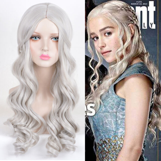 f30d15ce60d Game of Thrones Emilia Clarke Wigs Silver Long Wavy Spiral Cosplay Party Wig
