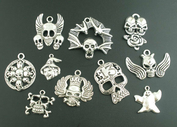 10Pcs Mixed Silver Tone Halloween&Gothic Charm Pendants
