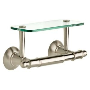 Image Is Loading Toilet Paper Holder Glass Shelf Mounting Hardware Zinc
