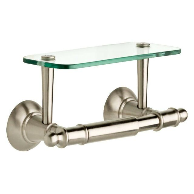 Delta Toilet Paper Holder With Glass Shelf in SpotShield Brushed ...