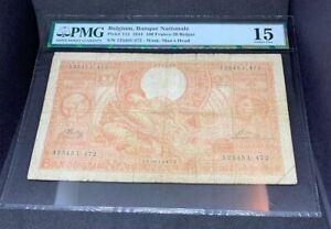 PMG Grades Belgium, Banque Nationale P113 1944 100 Francs-20 Belgas Banknotes