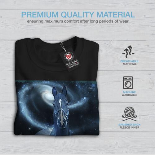 Hombres Cosmos Sudadera Galaxy Negro Space Horse Nuevo qtgff1Hxw