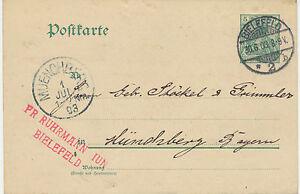 "DT. Reich ""Bielefeld/2"" K2 5 PF Germania GA Postcard after"" muenchberg ""1903"