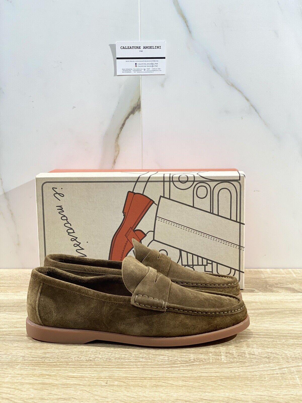 Il Mocassino Men's Shoe Reverso IN Suede Walnut Luxury Men Shoes 44