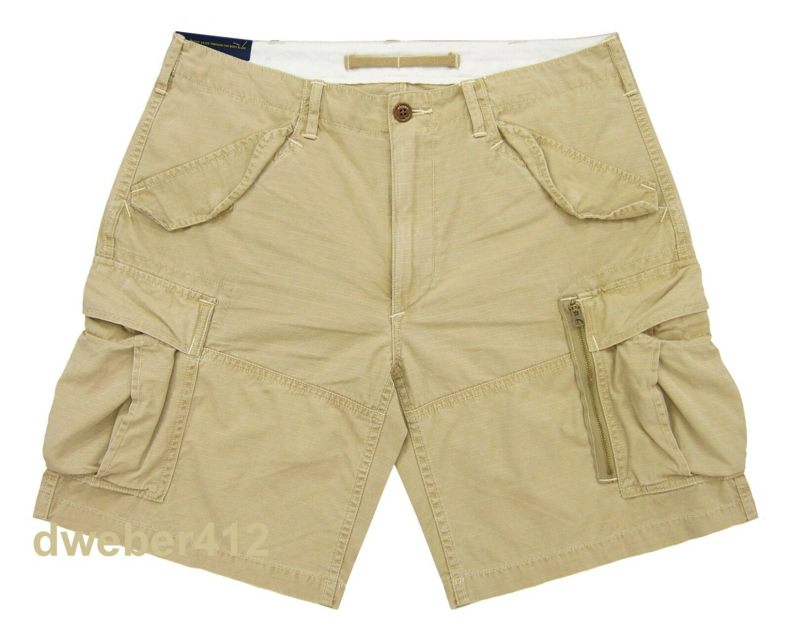 Men Polo Ralph Lauren BIG & TALL CLASSIC FIT Beige RIPSTOP Military Cargo Shorts