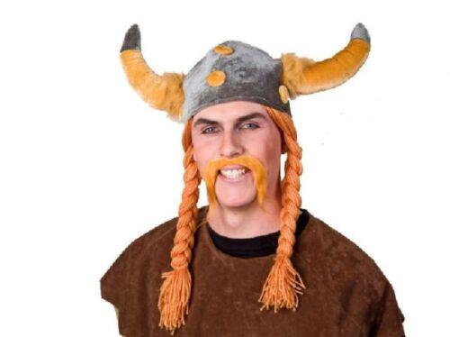 FM Karneval Zubehör Wikingerhelm aus Plüsch mit Zöpfen Kostüm Fasching