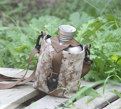 Titanium Canteen Mug Lid Water Bottle Fold Handle Lunch Box With Carry Bag Pouch