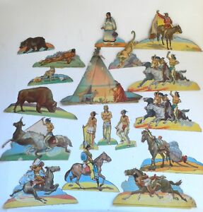 Vintage-Paper-Toys-Toy-set-of-Figures-Wild-West-Western-Indian-Indians-1950-039-s