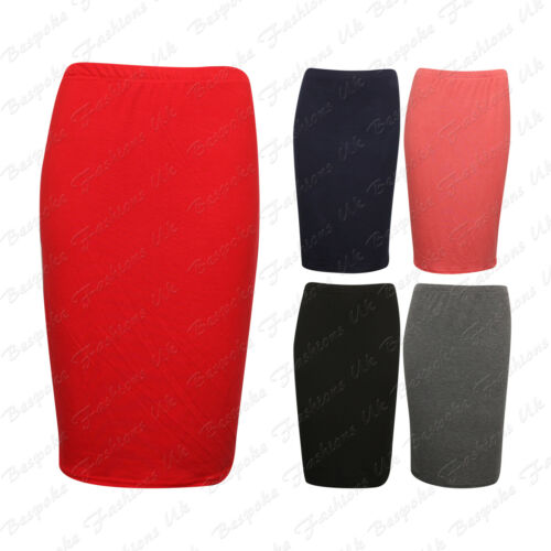 Ladies Women/'s Plus Size Elasticated Waist Stretchy Bodycon Pencil Skirt 16-26
