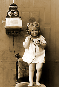 """1907 Young Girl Using a Telephone Vintage/ Old Photo 13"""" x 19"""" Reprint"""