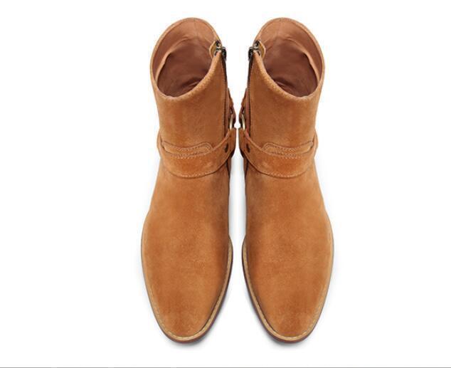 Caliente Amarillo Punk para Hombre Botín botas Cowboy De Gamuza Informal De Motor De Rock Zapatos Talla
