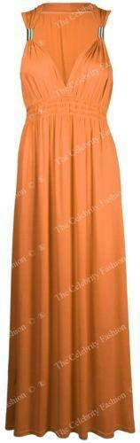 New Womens Maxi Dress Ladies Long Stretch Spring Flared Plus Size Coil Long Maxi