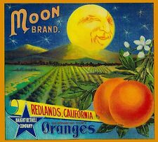 Redlands Moon Brand California Orange Citrus Fruit Crate Label Print